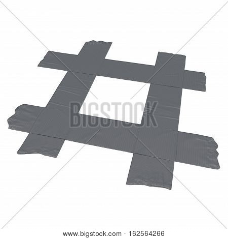 Duct repair tape silver isolated on white background. 3D illustration