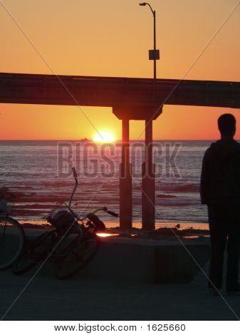 Sunset Ob Pier Bike Silhouette
