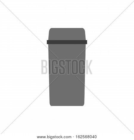 Waste can of garbage types. Container bin management and recycle concept with organic, paper, plastic, glass, metal, e-waste and mixed waste. Trash types separation of waste. Sorting waste recycling. Vector rubbish illustration.
