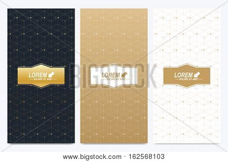 Modern set of vector flyers. Geometric presentation for medicine, science, technology, chemistry. Geometric pattern with connected lines and dots. Golden cybernetic dots. Lines plexus. Card surface