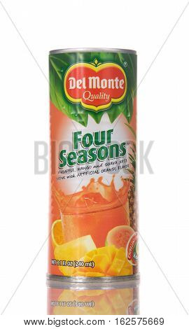 Alameda CA - December 20 2016: 8.1 fluid ounce can of Del Monte brand Four Seasons Fruit Juice Drink. Del Monte was created in 1886 and is located in San Francisco CA.