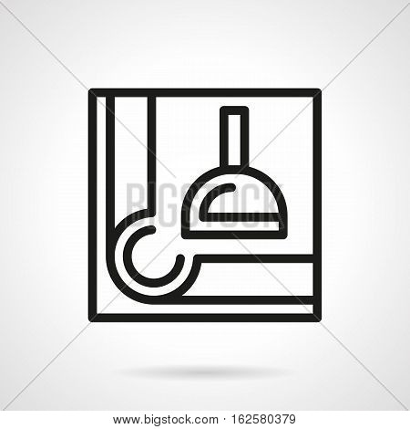 Billiard light lamp abstract symbol on white background. Corner of table. Poolroom equipment and accessories. Black simple line style vector icon.