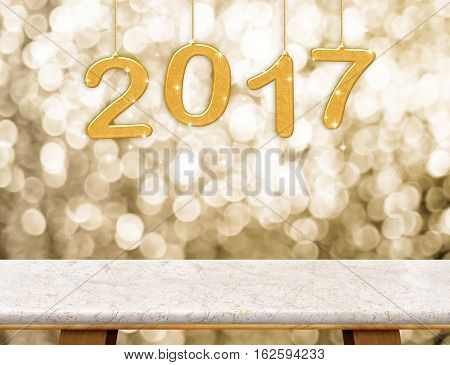 2017 (3D Rendering)  New Year Hanging Over Marble Table Top With Gold Sparkling Bokeh Wall,holiday C