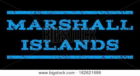 Marshall Islands watermark stamp. Text caption between horizontal parallel lines with grunge design style. Rubber seal stamp with unclean texture. Vector blue color ink imprint on a black background.