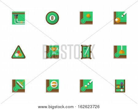 Equipment and elements of billiards. Green pool table, balls rack, triangle and cue and other accessories. Play billiard online. Collection of stylish flat color square vector icons.