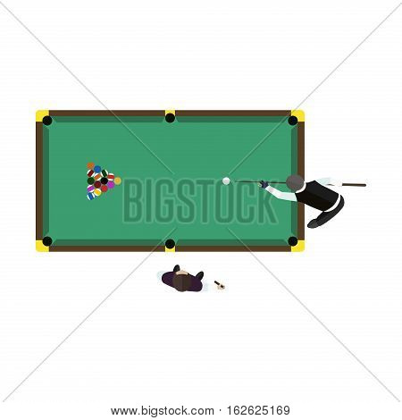 Billiards table game equipment activity challenge symbols. Vector green snooker competition play leisure illustration. Tournament sport gambling action recreation club.