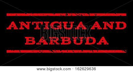 Antigua and Barbuda watermark stamp. Text tag between horizontal parallel lines with grunge design style. Rubber seal stamp with dust texture. Vector red color ink imprint on a black background.
