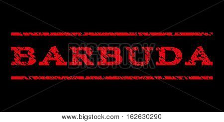 Barbuda watermark stamp. Text tag between horizontal parallel lines with grunge design style. Rubber seal stamp with dirty texture. Vector red color ink imprint on a black background.