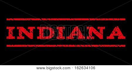 Indiana watermark stamp. Text tag between horizontal parallel lines with grunge design style. Rubber seal stamp with dirty texture. Vector red color ink imprint on a black background.