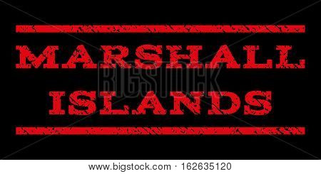 Marshall Islands watermark stamp. Text tag between horizontal parallel lines with grunge design style. Rubber seal stamp with dust texture. Vector red color ink imprint on a black background.