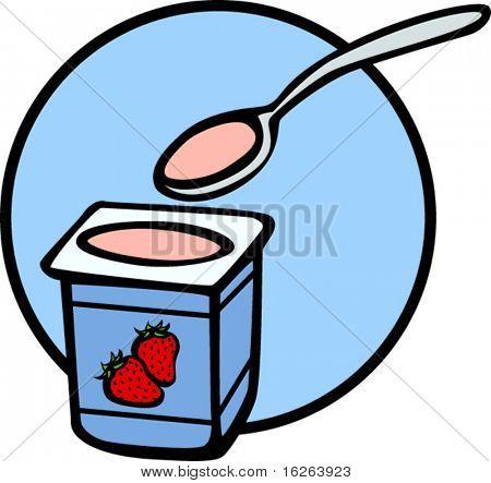 cuchara y yogur de fresa