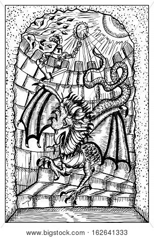 Basilisk and knight in old castle. Fantasy magic creatures collection. Hand drawn vector illustration. Engraved line art drawing, graphic mythical doodle. Template for card game, poster