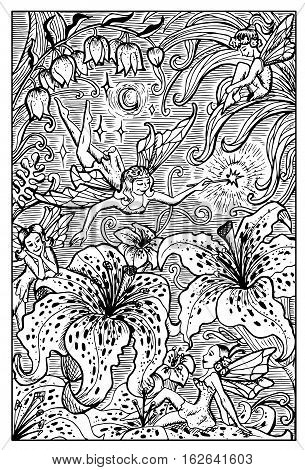 Beautiful fairy ladies and lily flowers. Fantasy magic creatures collection. Hand drawn vector illustration. Engraved line art drawing, graphic mythical doodle. Template for card game, poster
