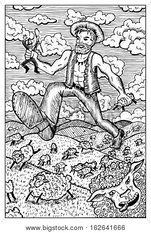 Giant or cannibal hunting shepherd and sheep. Fantasy magic creatures collection. Hand drawn vector illustration. Engraved line art drawing, graphic mythical doodle. Template for card game, poster