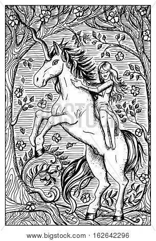 Unicorn and beautiful girl in forest. Fantasy magic creatures collection. Hand drawn vector illustration. Engraved line art drawing, graphic mythical doodle. Template for card game, poster