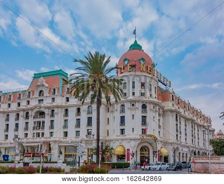 Nice France - October 8 2016: Hotel Negresco is the famous luxury hotel on the Promenade des Anglais in Nice, baie des Anges, a symbol of the Cote d'Azur or the French Riviera