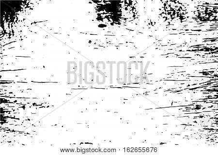 Vintage surface with black stains vector illustration. Distressed texture of old wood wall with paint stains. Black and white trace texture of timber.Natural old surface. Monochrome obsolete effect
