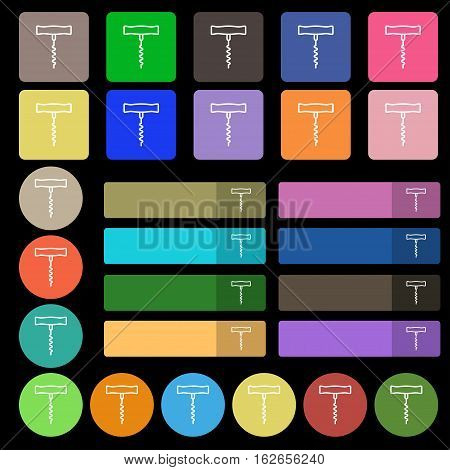 Corkscrew Icon Sign. Set From Twenty Seven Multicolored Flat Buttons. Vector