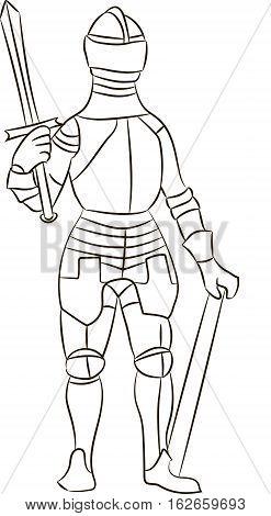 Medieval knight in iron armor. Vector illustration