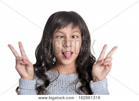 girl making facial expresions, on white background