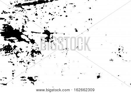 Scratched and worn surface vector illustration. Distressed texture of old wood wall with paint stains. Black traced texture for vintage effect. Realistic old surface. Monochrome obsolete effect
