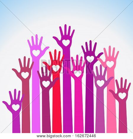 Bright  red violet colorful caring up hands hearts vector logo. Volunteers heart hands up vector emblem. Vector hands icon illustration. Education, Health Care, Medical, Volunteer, Vote Design Element