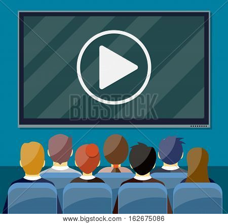 Businessmen sitting on chair and big black screen with play button. Cinema, business video presentation, corporate training concepts. vector illustration in flat style