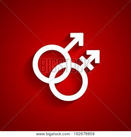 Trans gender white symbol on red background