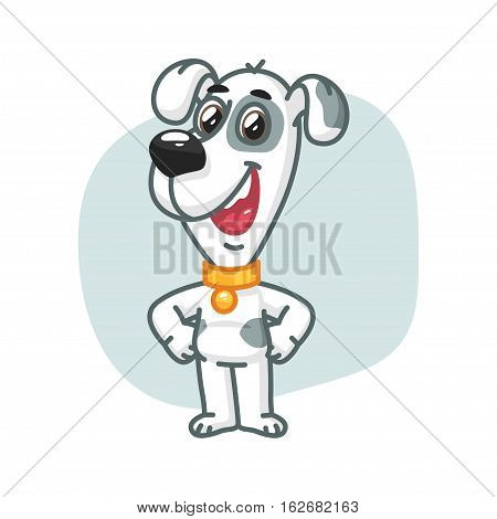 Vector Illustration, Dog Keeps Paws on Hips and Smiling, Format EPS 8