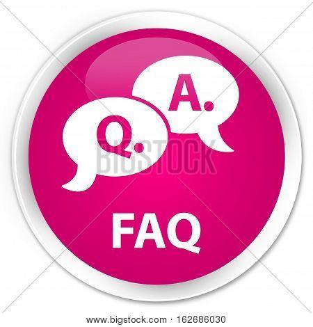 Faq (question Answer Bubble Icon) Premium Pink Round Button