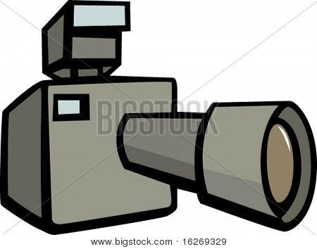 cámara fotográfica con teleobjetivo
