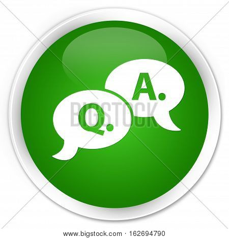 Question Answer Bubble Icon Premium Green Round Button