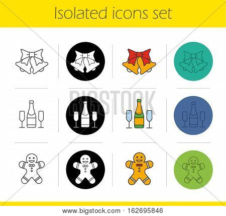 Christmas and New Year icons set. Linear, black and color styles. Jingle bells, champagne bottle and glasses, ginger man. Isolated vector illustrations