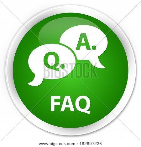 Faq (question Answer Bubble Icon) Premium Green Round Button