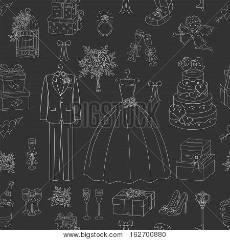 Wedding vector seamless background with hand drawn icons wedding dress, suit, cake, cupid angel, bouquet, engagement ring, shoes, gift box, birdcage and champagne