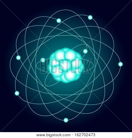Illuminated model of an oxygen atom on a dark background. Vector illustration