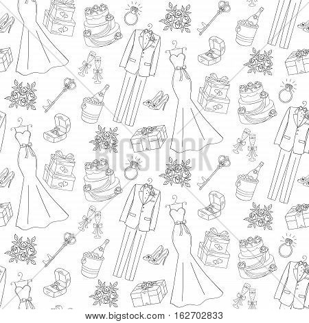 Wedding vector seamless background with hand drawn icons wedding dress, suit, cake, bouquet, engagement ring, shoes, gift box and champagne