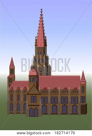 Church castle house building old vintage Austria Vienna architecture structure construction facade texture. Vector horizontal beautiful flat closeup city view design illustration grass sky background