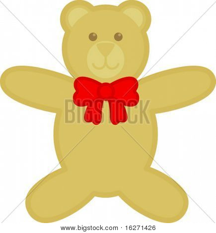 plush bear with ribbon