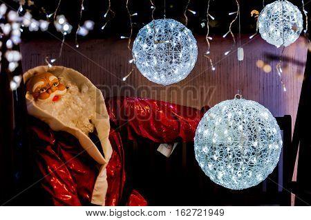 Santa Claus With White Light Balls