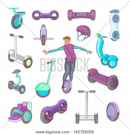 Self balancing scooter icons set. Cartoon illustration of 16 self balancing scooter vector icons for web
