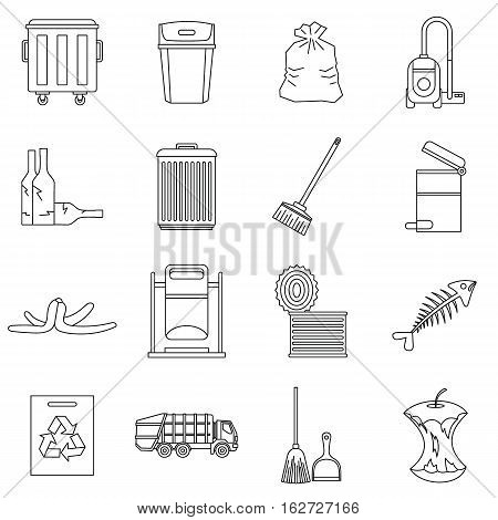 Garbage thing icons set. Outline illustration of 16 garbage thing vector icons for web