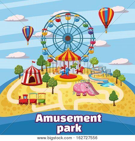 Amusement park concept. Cartoon illustration of amusement park vector concept for web