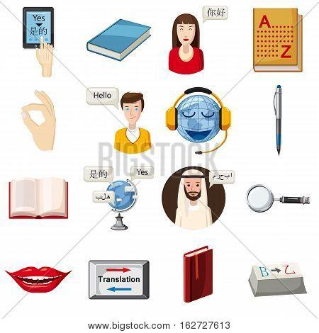 Translator profession tools set. Cartoon illustration of 16 translator profession vector icons for web