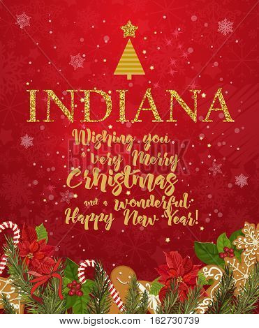 Indiana Merry Christmas and a Happy New Year greeting vector card on red background with snowflakes.
