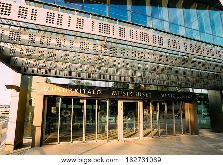 Helsinki, Finland. Building Of Music Hall Music Centre In Helsinki, Finland