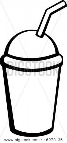 cold coffee beverage in plastic container with drinking straw
