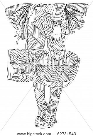 Vector hand drawn legs girl stands with bought gifts shopping bags. Patterned coloring page A4 size. Ornament coloring book for adults. Zentangle drawing.