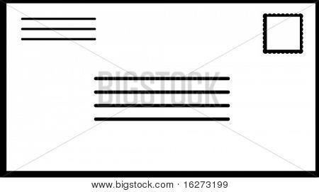 envelope de correio com o carimbo