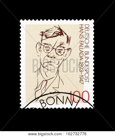 GERMANY - CIRCA 1993 : Cancelled postage stamp printed by Germany, that shows Hans Fallada.